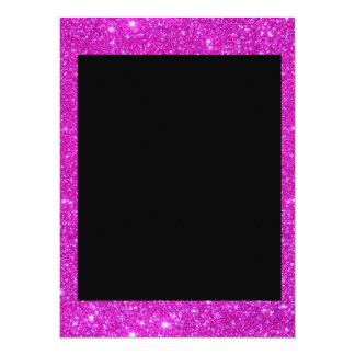 Girly Glam Black with Sparkly Pink Glitter Frame Custom Invitations