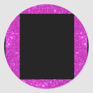 Girly Glam Black with Sparkly Pink Glitter Frame Round Sticker