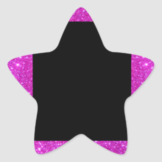 Girly Glam Black with Sparkly Pink Glitter Frame Star Sticker