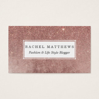 Girly Glam Pink Rose Gold Foil and Glitter Mesh Business Card