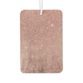 Girly Glam Pink Rose Gold Foil and Glitter Mesh Car Air Freshener