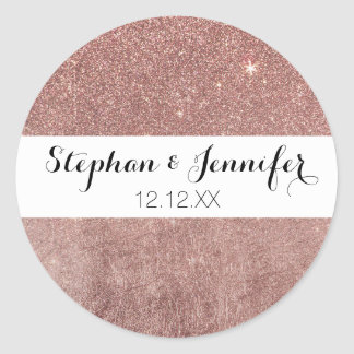 Girly Glam Pink Rose Gold Foil and Glitter Mesh Round Sticker
