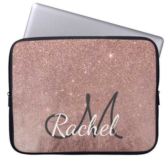 Girly Glam Pink Rose Gold Foil Glitter Monogram
