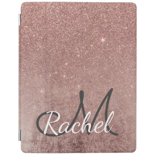Girly Glam Pink Rose Gold Foil Glitter Monogram
