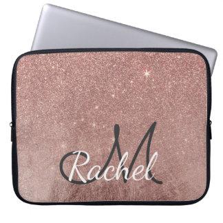 Girly Glam Pink Rose Gold Foil Glitter Monogram Laptop Sleeve