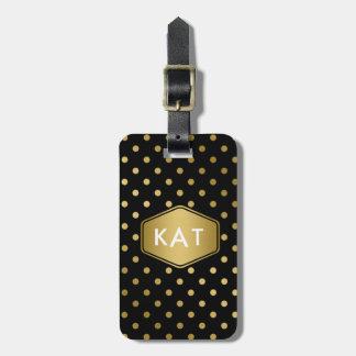 Girly Glitter Gold Polka Dots Pattern Black Bag Tag