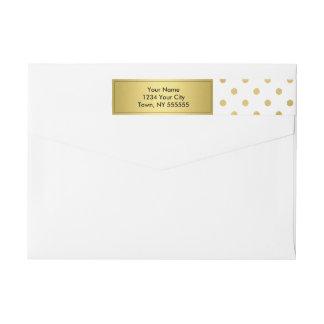 Girly Glitter Gold Polka Dots Pattern Monogram Wrap Around Label