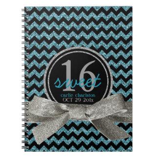 Girly Glitter Look Aqua Chevron Sweet 16 Notebooks