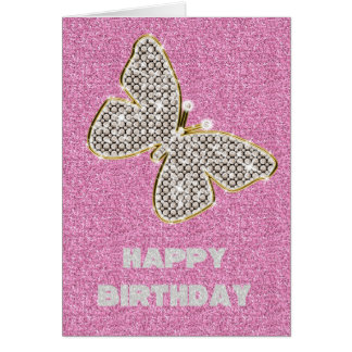 Girly Glitter with Butterfly Greeting Card