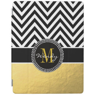 Girly Gold and Black Chevron Monogrammed iPad Cover