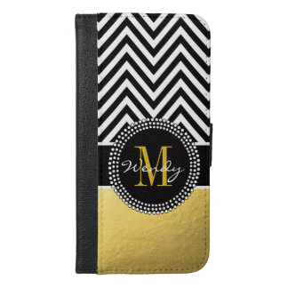 Girly Gold and Black Chevron Monogrammed iPhone 6/6s Plus Wallet Case