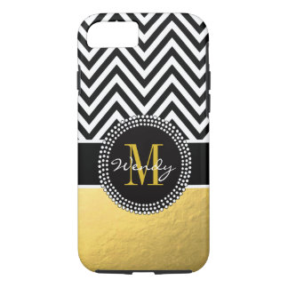 Girly Gold and Black Chevron Monogrammed iPhone 8/7 Case