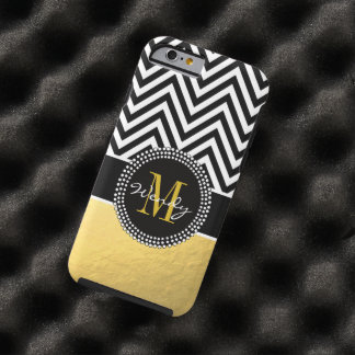 Girly Gold and Black Chevron Monogrammed Tough iPhone 6 Case