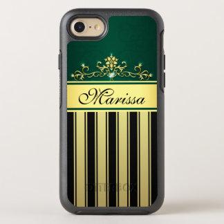 Girly Gold Black Vintage Stripe Elegant OtterBox Symmetry iPhone 8/7 Case