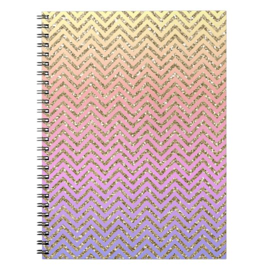 Girly Gold Colourful Chevron Custom Spiral Notebook