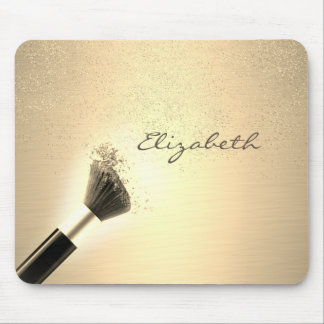 Girly,Gold Confetti ,Makeup Brush ,Personalized Mouse Mat