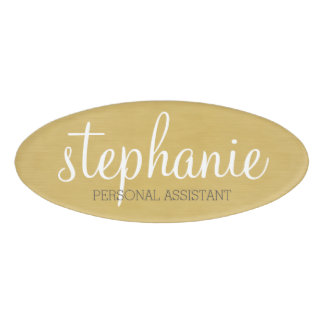 Girly Gold Foil Print - Cute Script and Title Name Tag