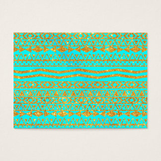 Girly Gold Glitter Aztec Pattern Neon Turquoise Business Card
