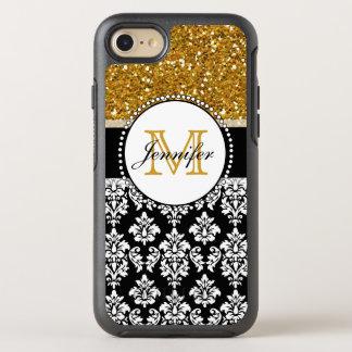 Girly Gold Glitter Black Damask OtterBox Symmetry iPhone 8/7 Case