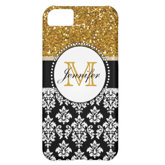 Girly Gold Glitter Black Damask Personalized iPhone 5C Case
