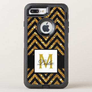 GIRLY, GOLD GLITTER CHEVRON PATTERN OtterBox DEFENDER iPhone 7 PLUS CASE