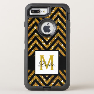 GIRLY, GOLD GLITTER CHEVRON PATTERN OtterBox DEFENDER iPhone 8 PLUS/7 PLUS CASE