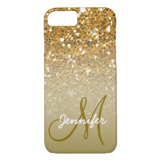 Girly Gold Glitter Custom Monogram Name Ombre iPhone 8/7 Case