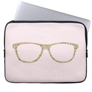 Girly Gold Glitter Eye Glasses Pink Laptop Sleeve