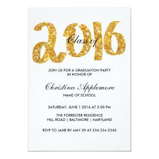 Girly Gold Glitter Faux 2016 Typography Graduation 13 Cm X 18 Cm Invitation Card