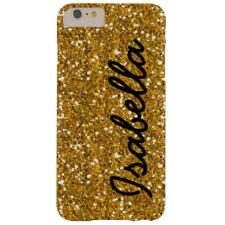 GIRLY GOLD GLITTER PRINTED PERSONALIZED BARELY THERE iPhone 6 PLUS CASE