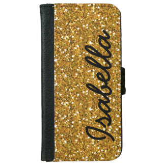 GIRLY GOLD GLITTER PRINTED PERSONALIZED iPhone 6 WALLET CASE