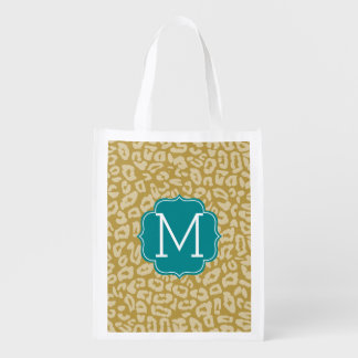 Girly Gold Leopard Print Pattern - Aqua Monogram Reusable Grocery Bag