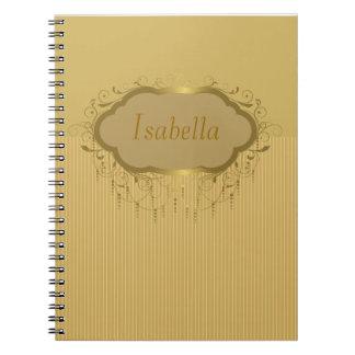 Girly Gold Ornate Stripe Notebook