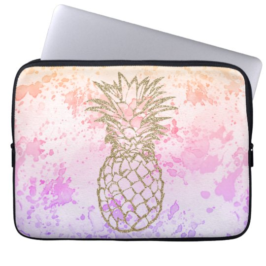 Girly Gold Pineapple Pink Watercolor Laptop Sleeve