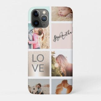 girly gold pink monogram love photo 5 collage grid Case-Mate iPhone case