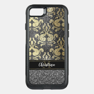 Girly Gold Silver Elegant Damask Monogram OtterBox Commuter iPhone 8/7 Case