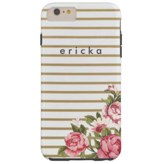 Girly Gold Stripe Rose Personalized Phone Tough iPhone 6 Plus Case