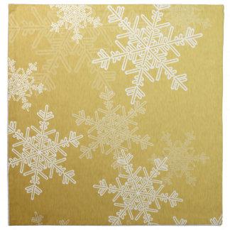 Girly golden and white Christmas snowflakes Napkin