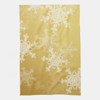 Girly golden and white Christmas snowflakes Tea Towel