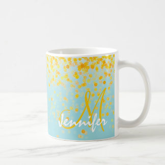 Girly golden yellow confetti turquoise ombre name coffee mug