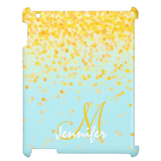 Girly golden yellow confetti turquoise ombre name cover for the iPad