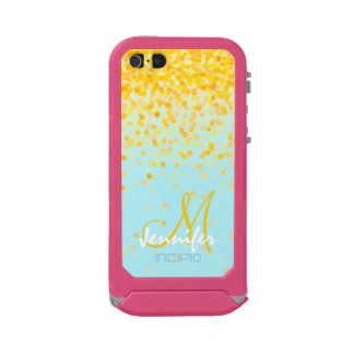 Girly golden yellow confetti turquoise ombre name incipio ATLAS ID™ iPhone 5 case