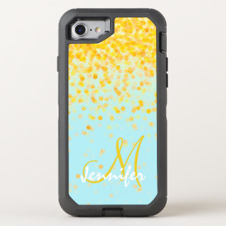 Girly golden yellow confetti turquoise ombre name OtterBox defender iPhone 8/7 case
