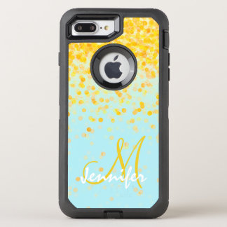 Girly golden yellow confetti turquoise ombre name OtterBox defender iPhone 8 plus/7 plus case