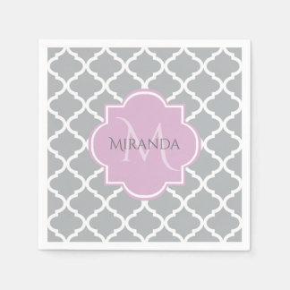 Girly Gray Quatrefoil Lavender Monogram and Name Disposable Serviettes