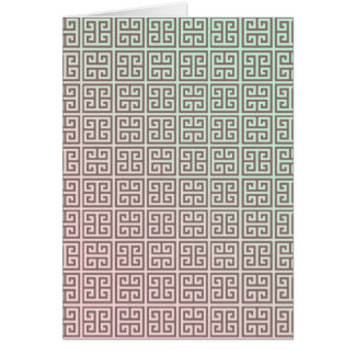 Girly Greek Key Pattern Mint Green Pink Gradient Card