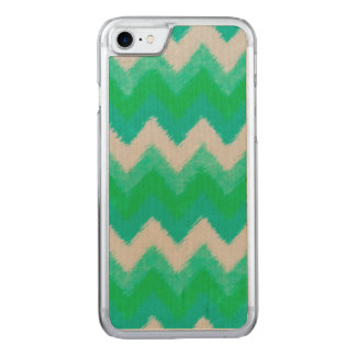 Girly Green and White Bohemian Chevron Pattern Carved iPhone 8/7 Case