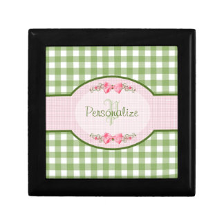 Girly Green Gingham Monogram With Name Gift Box