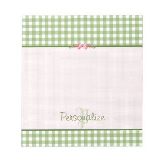Girly Green Gingham Monogram With Name Notepad