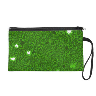 Girly green hearts glamour bagette wristlet
